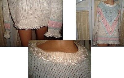 L true vtg pink pastel Sweater Kawaii 80s Fairy Kei frilly froo froo tunic top