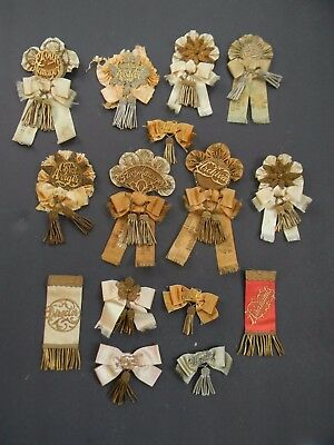LOT of ANTIQUE VICTORIAN SILVER & GOLD SILK & SATIN BADGES / PINS / BADGES 1890s