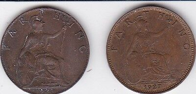 1923 & 1927  GREAT BRITAIN FARTHING - - Hard to Find Vintage Coins  LOOK