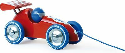 Vilac RED PULL-ALONG RACING CAR Baby/Toddler Wooden Toy Gift Box Walking BN