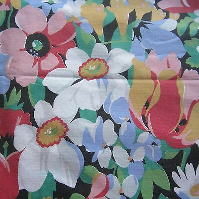 50CM X 113CM VINTAGE Sheet Fabric 1980S  Bright Retro Floral Upcycle Recycle
