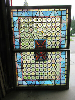 Antique Stained Glass Windows ~ Top Bottom ~ 122 Jewels Roundels ~  Salvage