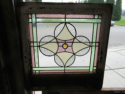 ~ ANTIQUE  AMERICAN STAINED GLASS WINDOW ~ 25 x 26 ~  ARCHITECTURAL SALVAGE
