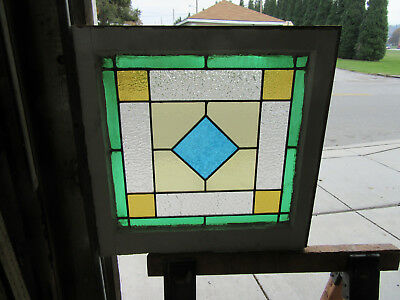~ ANTIQUE  AMERICAN STAINED GLASS WINDOW ~ 24 x 24 1 OF 2  ARCHITECTURAL SALVAGE