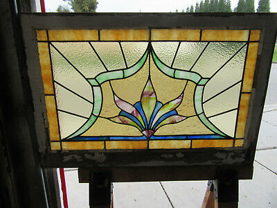 ~ Antique American Stained Glass Window ~ 36 X 24 ~ Architectural Salvage