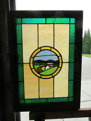 ~ ANTIQUE AMERICAN SCENIC STAINED GLASS WINDOW ~ 24 x 34 ~ ARCHITECTURAL SALVAGE
