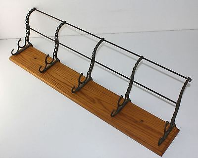 Antique 5 Hook Cast Iron & Solid Oak Wall Hat & Coat Rack RR School Home Cabin
