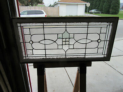 ~ Antique Stained Glass Transom Window ~ 46 X 22 ~ Bevels Jewels ~ Salvage