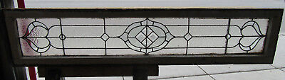 ~ Antique Stained Glass Transom Window ~ 66 X 14 ~ Bevels Jewels ~ Salvage