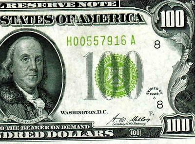 $100 1928A Vivid Green (( LIME GREEN ))  FRN ** MORE CURRENCY FOR SALE **