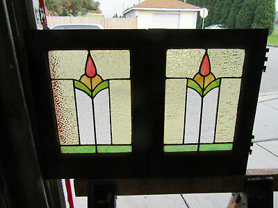 4 Small Antique Stained Glass Cabinet Doors Windows 13 X 19 ~ Salvage ~