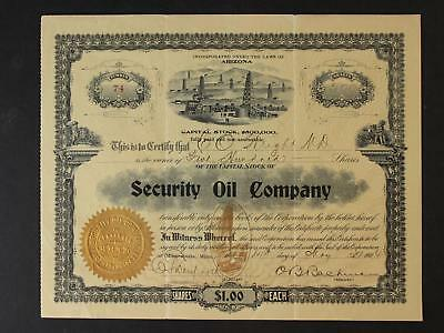 1904 Security Oil Company Stock Certificate~Great Imagery~Ariziona~500 Shares