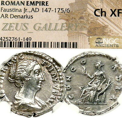 FAUSTINA II NGC Ch XF Wife of Marcus Aurelius Ancient Roman Silver Denarius Coin