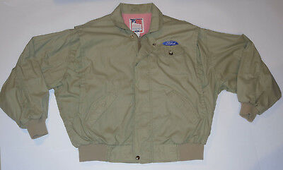 Men's Ford Official Sportswear Cloth Bomber Jacket! Lightweight! Made In Usa! L