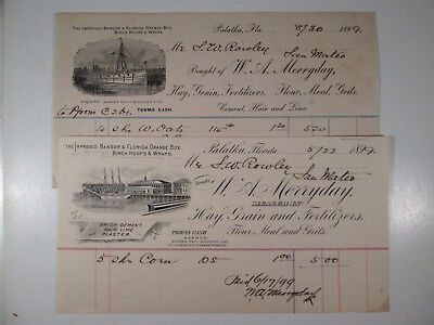 Billhead Pr 1899 from Palatka Florida FL, w/Graphic Ships & Dock Designs,