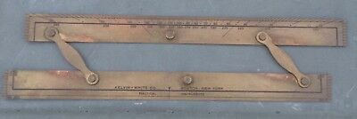 Antique Kelvin White Co.nautical Instrument Navigation Ruler,brass Parallel