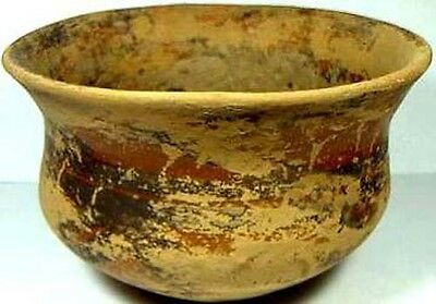 Ancient Neolithic Predynastic China Large Intact Painted Earthware Bowl 2000BC