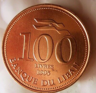 1995 LEBANON 100 LIVRES - AU/UNC- From Original Mint Roll - Free Ship - BIN #FFF