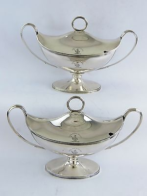PAIR GEORGIAN SILVER SAUCE TUREENS, London 1802 John Emes excellent quality