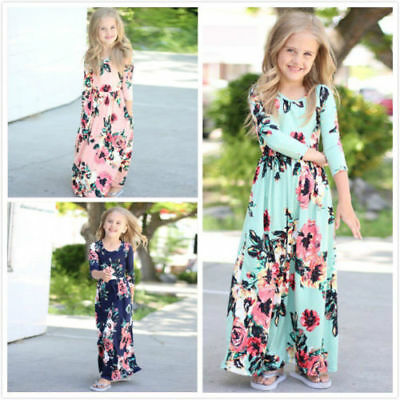 US Kids Baby Girl Fashion Boho Long Maxi Dress Clothing Long Sleeve Floral Dress