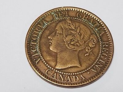 Canada 1859 Large One Cent Penny Bright Red Sharp Details Coin - C8
