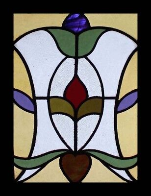 Pretty Art Nouveau Floral English Antique Stained Glass Window