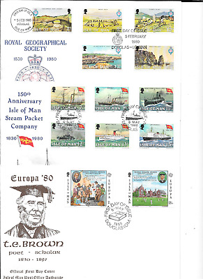 ISLE of MAN 1980 Commemoratives - 6 sets - FDCs