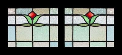 Pretty Victorian English Tulip Pair Antique Stained Glass Windows