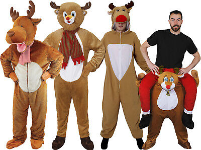 Adults Reindeer Costume Christmas Mascot Fancy Dress Outfit Pick Me Up Jumpsuit