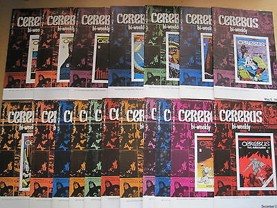 CEREBUS #s 1 - 18 (1977) COMPLETE by DAVE SIM. REPRINTED AS BI-WEEKLY by AV 1988