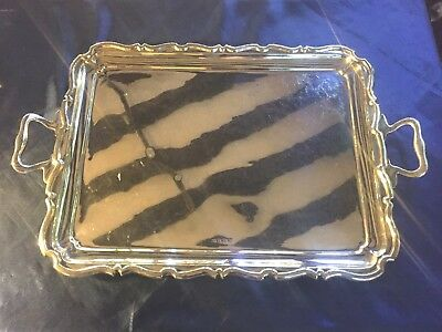 Art Deco solid Sterling Silver Serving Tray Handsome  206..2 grams 1926