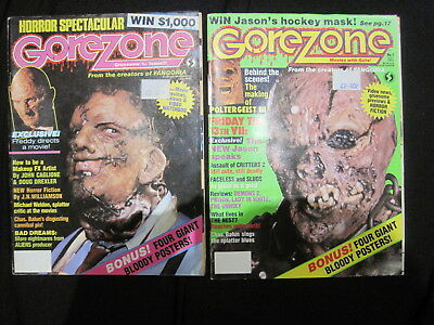 GOREZONE : Issues 1 & 2 of the classic HORROR magazine.1988. FANGORIA STABLEMATE