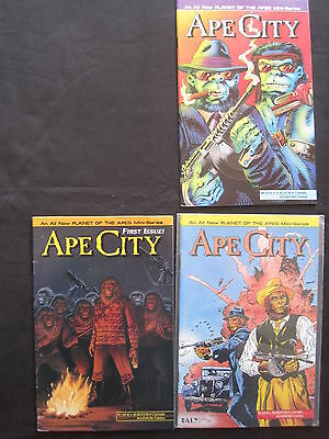 PLANET of the APES : APE CITY : #s 1,2,4 of 4 ISSUE SERIES. 1990 SERIES. MALIBU.