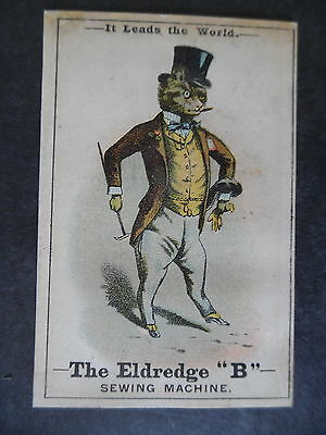 "Victorian Trade Card Eldredge ""B"" Sewing Machine Dressed Cat"