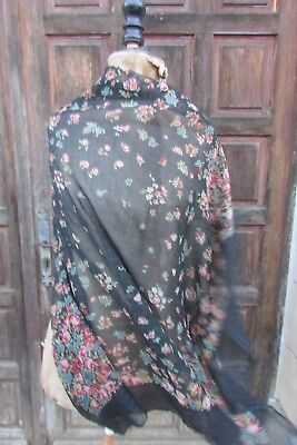 BEAUTIFUL ANTIQUE FRENCH LARGE CHIFFON ROSES PRINT/SILVER THREAD SCARF c1900-20
