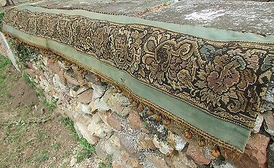 LONG LENGTH ANTIQUE FRENCH NEEDLEPOINT TAPESTRY BED CANOPY FLOWER SWIRLS  c1880