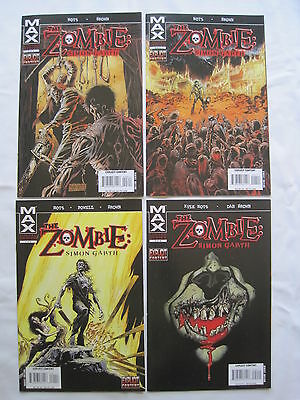 The ZOMBIE : SIMON GARTH - COMPLETE 4 ISSUE SERIES. EXPLICIT CONTENT. MARVEL MAX