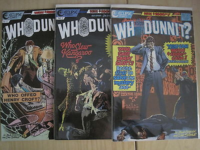 WHODUNNIT : COMPLETE 3 ISSUE SERIES by EVANIER & SPIEGLE. ECLIPSE, 1986