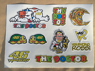 THE DOCTOR 46 VALENTINO ROSSI.  9 Stickers on an A5 Sheet