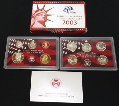 2003 Us Mint ***silver*** Proof Coin Set With Box & Coa