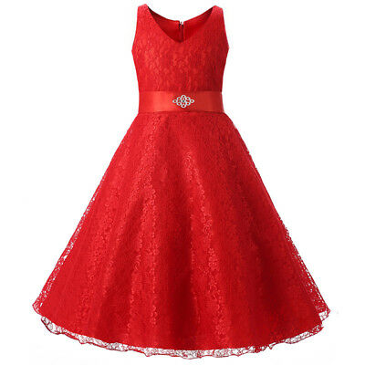Flower Girl Dress Lace Princess Formal Bridesmaid Graduation Size 8 10 12 14