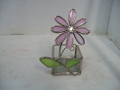 Vintage Stained Glass Floral Candle Holder, Trinket Box, Free Shipping Z5