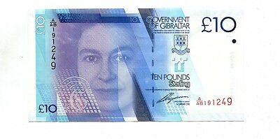 Gibraltar 2010 10 Pound Currency Note Choice Cu 2400G
