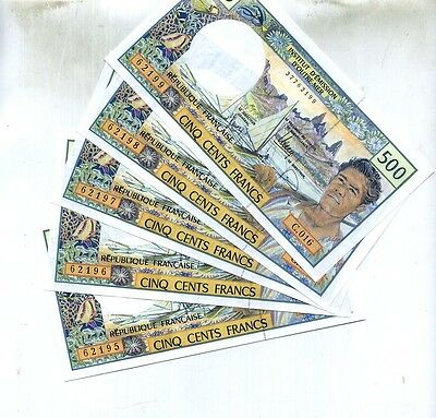 1992 France Pacific 500 Francs Currency Note Lot Of 5 Consecutive
