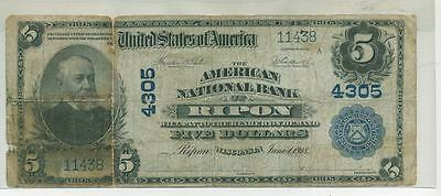 Ripon Wisconsin 1902 $5 American National Bank