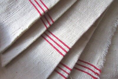 LARGE BOLT VINTAGE FRENCH METIS LINEN RED STRIPED UNCUT TORCHON FABRIC 10ft 3""