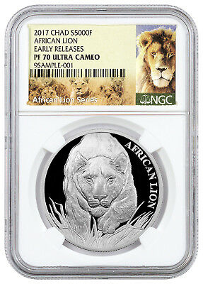 2017 Republic Chad 5000F 1 oz Proof Silver African Lion NGC PF70 UC ER SKU43318