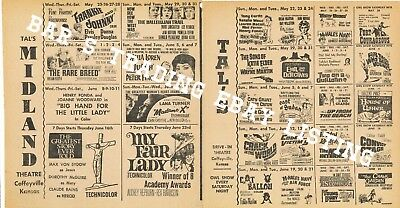 1966 Tal'S Drive In & Midland Movie Theatre Calendar Ad May Coffeyville Kansas
