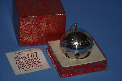 1977 WALLACE silver plated SILVERSMITH annual SLEIGH BELL #7 SERIES MIB w insert