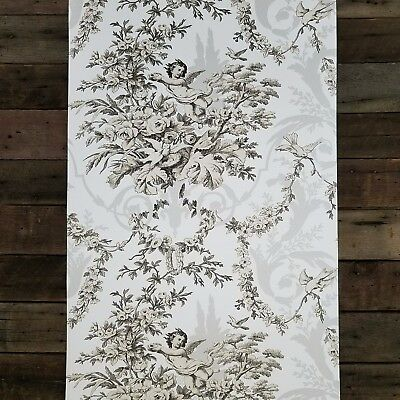 Traditional Vintage Victorian Black and White Cherub Floral Designer Wallpaper
